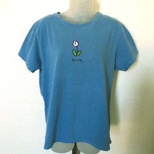 Womans LIFE IS GOOD Relaxed Fit Blue shirt GROW L